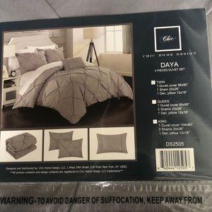 New grey twin duvet set sham pillow case